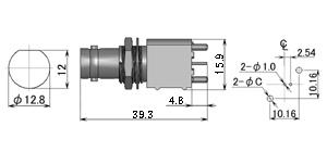 製図:シャーシとの絶縁型レセプタクル(基板用)2