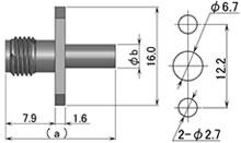 製図:2穴フランジ付ジャック(圧着タイプ)1.5D/RG-174・他/RG-223・他用