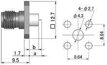 製図:4穴フランジ付レセプタクル3