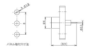 製図:2穴フランジ付レセプタクル
