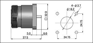 製図:4穴フランジ付レセプタクル