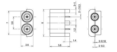 製図:2連 EMT レセプタクル P=3.6mm