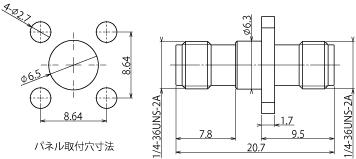 製図:4穴フランジ付アダプタ Jack-Jack