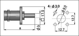 製図:4穴フランジ付ジャック(圧着タイプ)75Ω