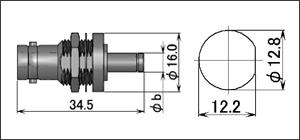 製図:バルクヘッドジャック(圧着タイプ)(前止め) 75Ω