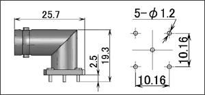製図:L形レセプタクル(基板用)2
