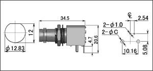 製図:シャーシとの絶縁型レセプタクル(基板用)