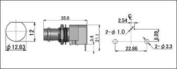 製図:シャーシとの絶縁型レセプタクル(基板用)4