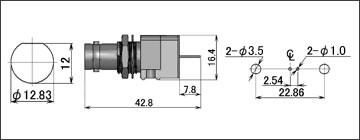 製図:シャーシとの絶縁型レセプタクル(基板用)5