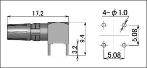 製図:電源用L形レセプタクル(基板用)