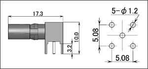 製図:L形レセプタクル 基板用(オスコンタクト)