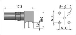 製図:L形レセプタクル 基板用(メスコンタクト)