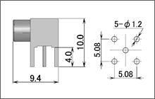 製図:L形レセプタクル(基板用)75Ω