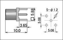 製図:ストレートレセプタクル(基板用)75Ω