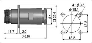 製図:4穴フランジ付ジャック(締め込みタイプ)