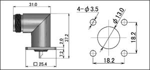 製図:4穴フランジ付L形レセプタクル