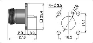 製図:4穴フランジ付レセプタクル75Ω