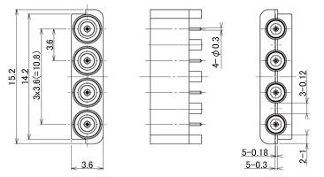 製図:4連 EMT レセプタクル P=3.6mm