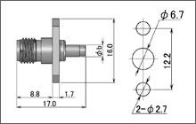 製図:2穴フランジ付ジャック(圧着タイプ)
