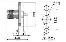 製図:2穴フランジ付レセプタクル2