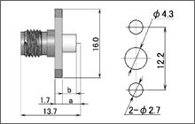 製図:2穴フランジ付レセプタクル3