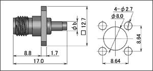 製図:4穴フランジ付ジャック(圧着タイプ)
