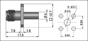 製図:4穴フランジ付ジャック(圧着タイプ)1.5D/RG-174・316・188用 Brass
