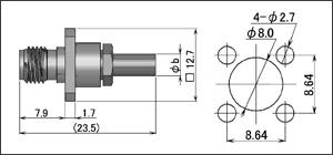 製図:4穴フランジ付ジャック(圧着タイプ)RG-174・316・188/RG-223・55・142用 SUS
