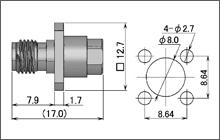 製図:4穴フランジ付ジャック(はんだタイプ)085/141用 SUS