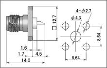 製図:4穴フランジ付レセプタクル2