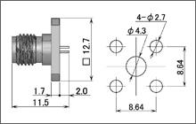 製図:4穴フランジ付レセプタクル4