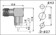 製図:L形2穴フランジ付レセプタクル