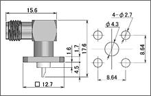 製図:L形4穴フランジ付レセプタクル