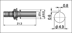製図:バルクヘッドジャック(圧着タイプ)(前止め) 1.5D/RG-174・316・188用