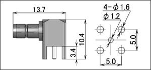 製図:L形レセプタクル(基板用)