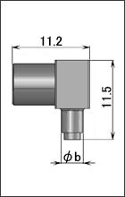 製図:低背位型 L形プラグ(圧着タイプ)