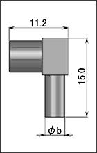 製図:低背位型 L形プラグ(圧着タイプ)1.5D用