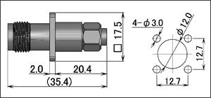製図:4穴フランジ付ジャック(はんだ・締め込みタイプ)